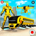 Flying School Bus Robot: Hero Robot Games 12 (Mod)