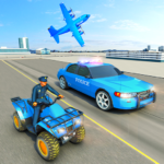 USA Police Car Transporter Games: Airplane Games  (Mod)