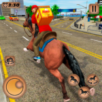 Mounted Horse Riding Pizza Guy: Food Delivery Game  (Mod)